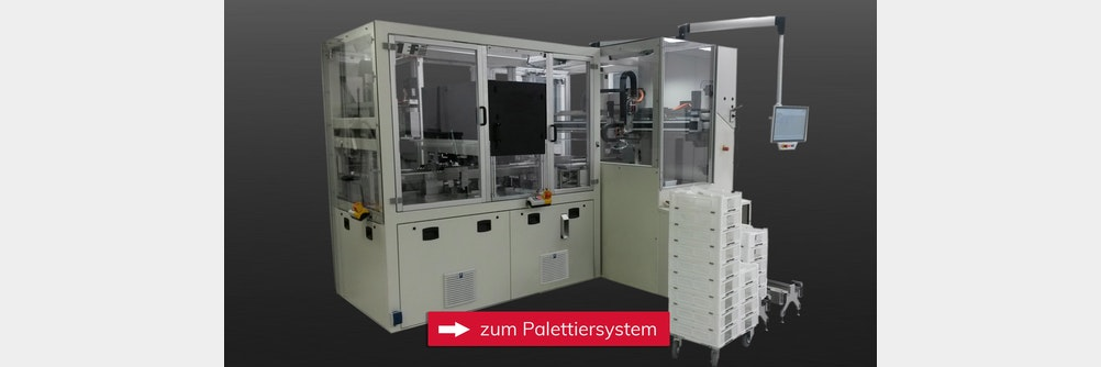 Flexibles Palettiersystem für Karpulen-Packmaschine