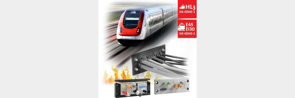 Kabeldurchführung mit Brandschutz für die Bahntechnik nach EN 45545-3