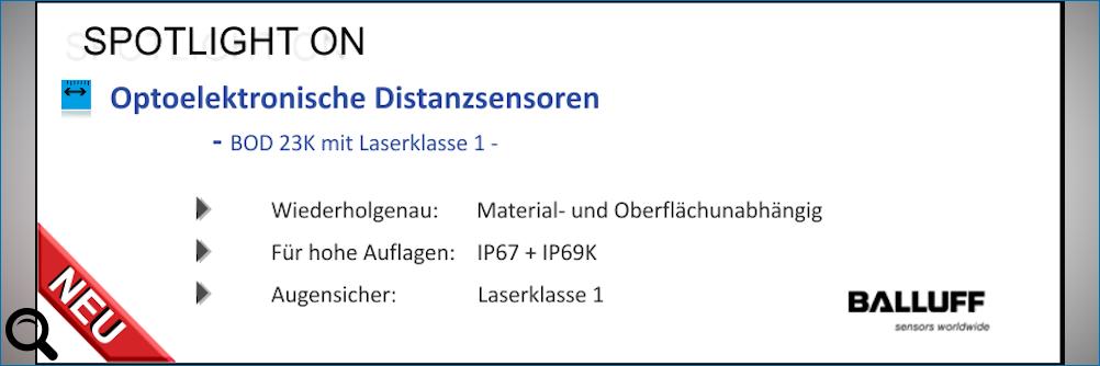 Balluff optoelektronische Distanzsensoren BOD 23K mit Laserklasse 1