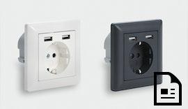 100 % bahntaugliche 230 V Steckdose mit zwei integrierten USB-Ladeports
