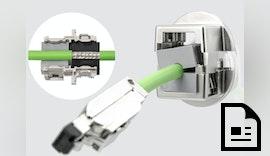 Teilbare EMV-Kabelverschraubung für Leitungen mit Stecker