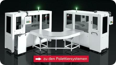 Palettiersystem mit RFID-Tag Prüfung der Trays / Barcode Prüfung der Produkte
