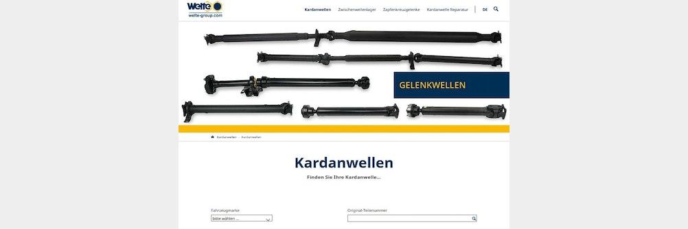 Welte Onlinekonfigurator für PKW / NFZ Kardanwellen