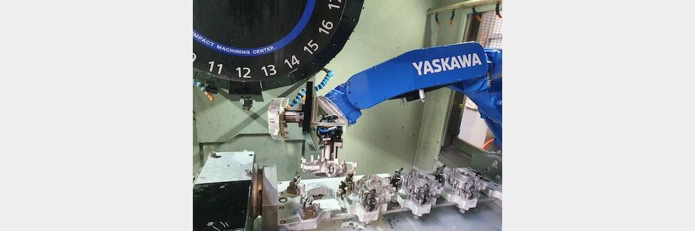 Verkettete 🔗 Magnesiumbearbeitung mit Roboter & Palettiersystem zuverlässig automatisiert