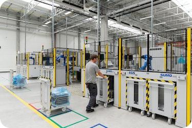 Roboter und  Palettiersysteme für die Großserienproduktion von ⚡eBike Komponenten