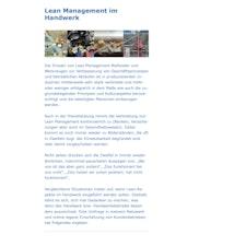 Lean Management im Handwerk