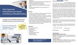 SEMINAR Value Engineering´: Kostenreduzierung in Bauteilentwicklung & Bauteilherstellung