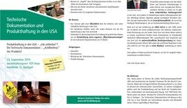 SEMINAR Technische Dokumentation und Produkthaftung in den USA
