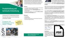 SEMINAR Produkthaftung und technische Entwicklung