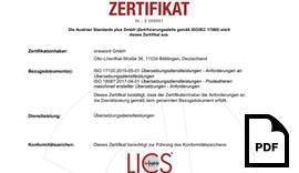 ISO 18587-Zertifikat