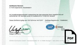 DEKRA Zertifikat für das Umweltmanagementsystem