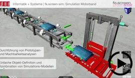 3D-Simulation Motorband, Fördertechnik | Virtuelle Inbetriebnahme mit Multi-User Fähigkeit