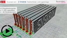 Simulation: Automatisches Lager | Virtuelle Inbetriebnahme Palettenförderer und Regalbediengerät