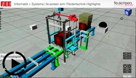 Fördertechnik Simulation Highlights: Regalbediengerät, Kistenstapler, Palettenstapler